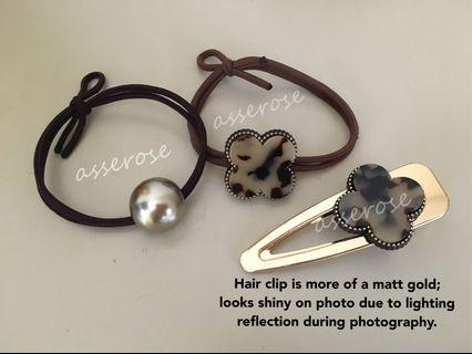 Hair Clip Hair Elastic Set clover leaf brown marble design