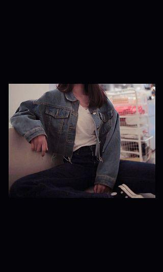 Crop oversized Denim Jacket jeans ripped