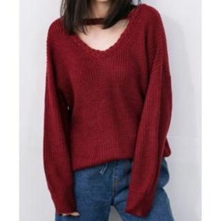 二手衣 酒紅色 正反兩穿 V領 編織 簍空 寬版 鉤織 毛衣