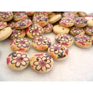 WB10126 - 13mm flowers printed wood buttons, wooden buttons (10 pieces)  #craft