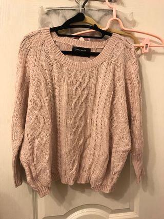 🚚 韓粉色格紋毛衣