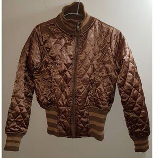 二手衣 金色 短版 菱格紋 緞面 長袖 外套