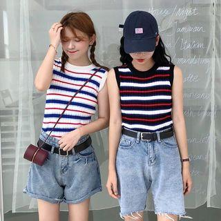 🔥(2 Colour) Knitted Striped Sleeveless Ulzzang Top