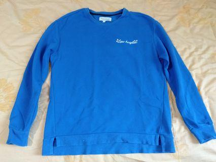 Bright blue cheery sweater top
