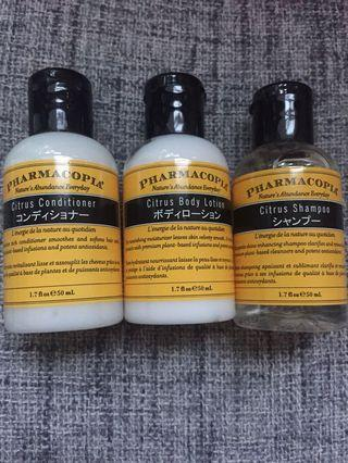 Pharmacopia citrus hair shampoo & conditioner & body lotion 天然護髮素/洗頭水/身體潤膚乳液50ml