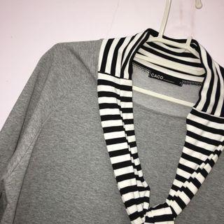 🚚 Caco灰色連身裙+線條綁帶