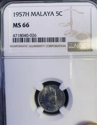 🚚 1957H Malaya 5 Cents
