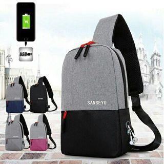 GS Two Tone Canvas Multi Compartment Crossbody Sling Bag Shoulder bag