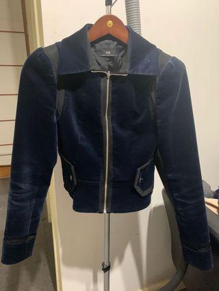 CUE navy velvet blazer 6