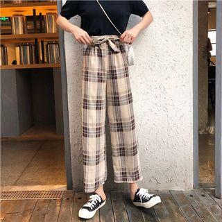 🔥(Blue/Coffee) Gingham Ribbon Ulzzang Tumblr Pants