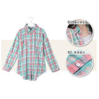 格紋 水藍粉格 前口袋 落肩 長版 襯衫