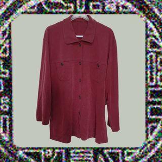 🚚 無印風格✔破路襯衫×長袖×古著×沉穩酒紅色