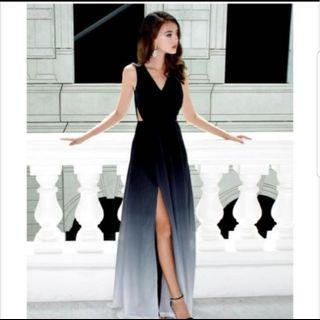 🚚 Theory of Seven Dawn Black Ombre Slit Maxi