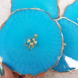 Sale/Set of 4 Light Blue Resin Coasters