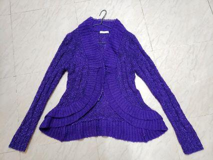 PLAYLORD 紫色針織修腰女裝外套 (free size) knit purple cardigan (slim fit)