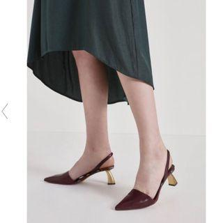 Charles & Keith Sculptural Heel Slingback Pointed Pumps Burgundy