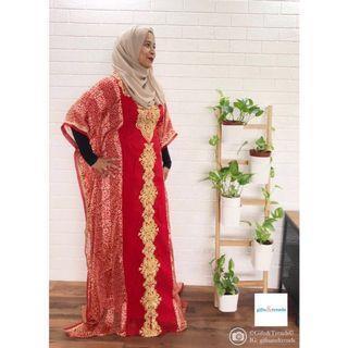 Women Red Bohemian Kaftan Dress Jubah Eid Raya