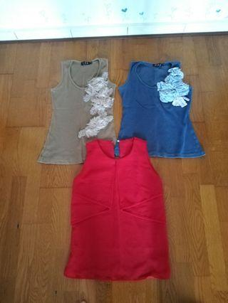 Singlet+blouse, 3 pieces only RM18
