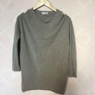 GREY KNITTED LONGSLEEVES WITH SHOULDER CUTOUT DESIGN LARGE