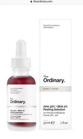 The Ordinary AHA 30% + BHA 2% Peeling Solution 10分鐘臉部去角質面膜 30m