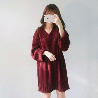maroon oversized knitted top
