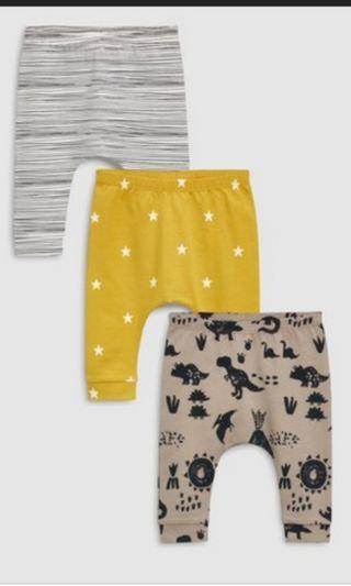 全新 恐龍長褲3條 0~3mth 買錯size 平賣 $60 3條