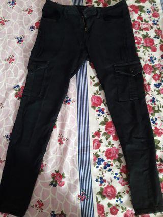 Celana Stretch Semi Jeans Hitam Tactical