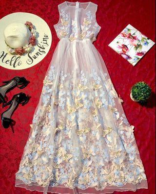 Butterflies Embroidered Maxi Lace Dress