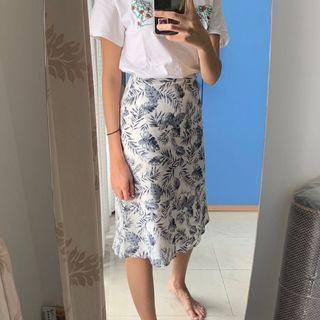 POMELO - Patterned Midi Skirt