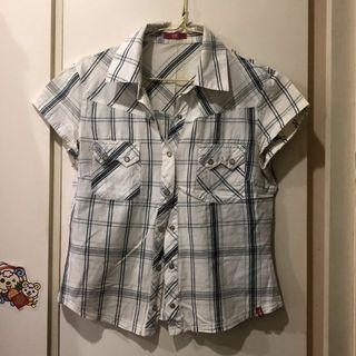 NG品泛黃 Esprit副牌edc 格紋襯衫