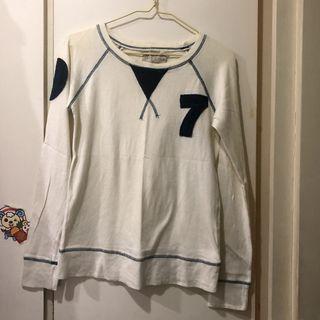 NG品泛黃 e&k1996 數字圖案白色長袖上衣