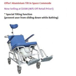 Commode Offer 46% Off! Aluminium Tilt In Space Commode  Now Selling at $1500 (46% Off Retail Price!)