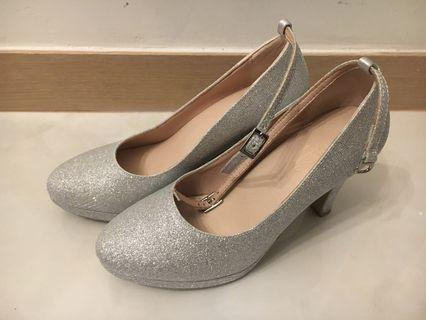 銀色高跟鞋 結婚物資 glitter high heels platform shoes