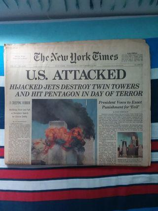 """The New York Times """"U.S. ATTACKED"""" September 12 2001"""