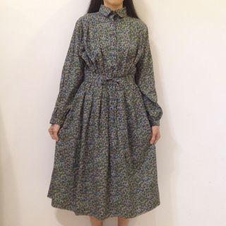 80s Floral Long Sleeve Vintage Dress