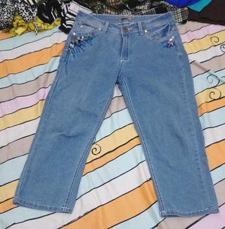 🚚 古著 eu 水鑽裝飾 淺藍 牛仔褲 八分褲 復古 中腰