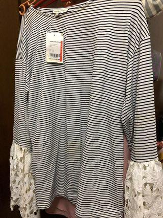 Top Shirt with Stripes White Black