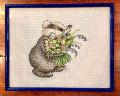 Cross stitch Skunk with Flowers wooden Framed 26x21cms