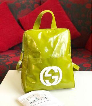 Gucci gg logo patent leather backpack