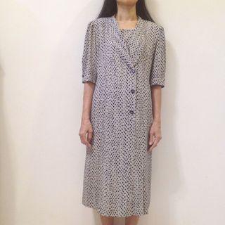80s Grey & Navy Dot Vintage Dress