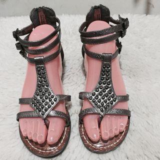 Authentic Sam Edelman Ginger Beaded Metallic Gladiator Sandals