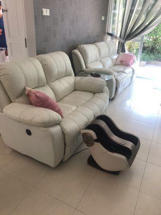 Recliner Sofa set white soft comfy #EndgameYourExcess