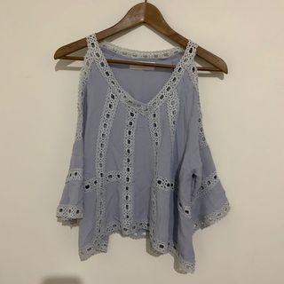 🚚 二手-韓國水藍色蕾絲上衣