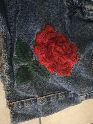 Topshop denim shorts with embroidered roses