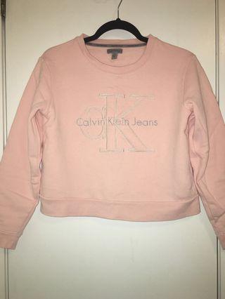 Calvin Klein Cropped Sweatshirt | Baby Pink, S