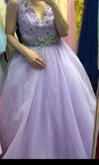 Purple Evening gown 紫色晚裝 9成新 A-line dress 泡泡裙