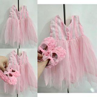 PINK TUTU BABY GOWN with FREE SHOES