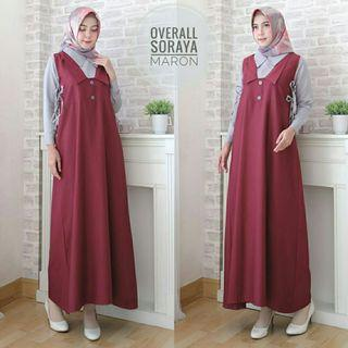 MAXI OVERALL 2IN1 SORAYA - MAROON (REAL PICTURE)