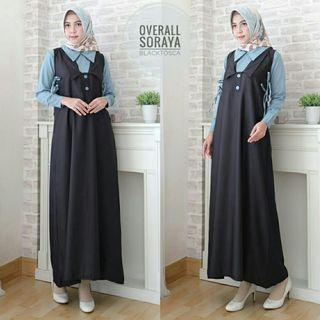 MAXI OVERALL 2IN1 SORAYA - HITAM (REAL PICTURE)