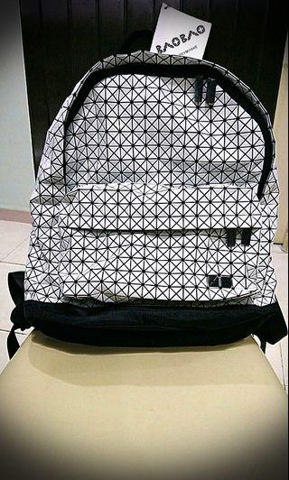 Geometric Backpack Holographic (White)